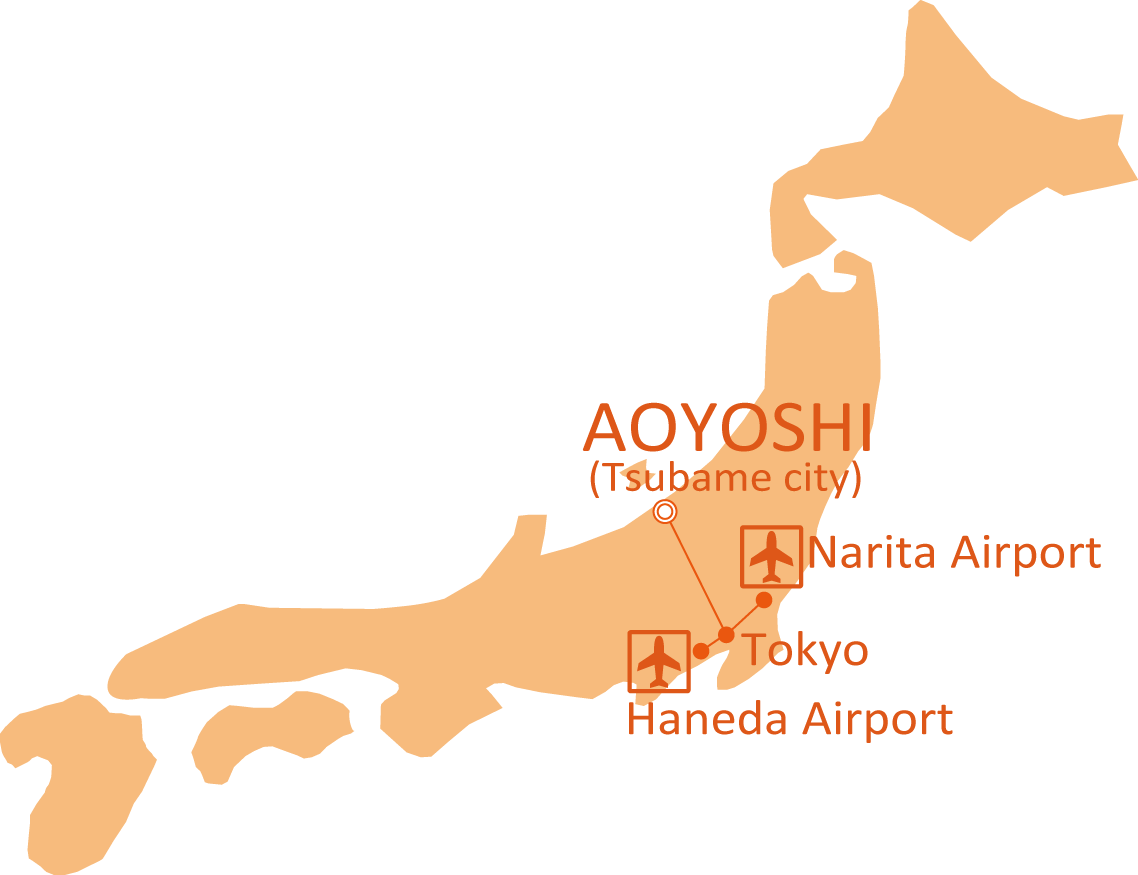 Map from Narita or Haneda airport to AOYOSHI