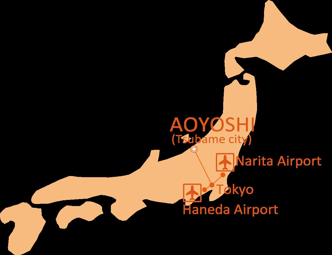 Map from Narita or Haneda airport to AOYOSHI